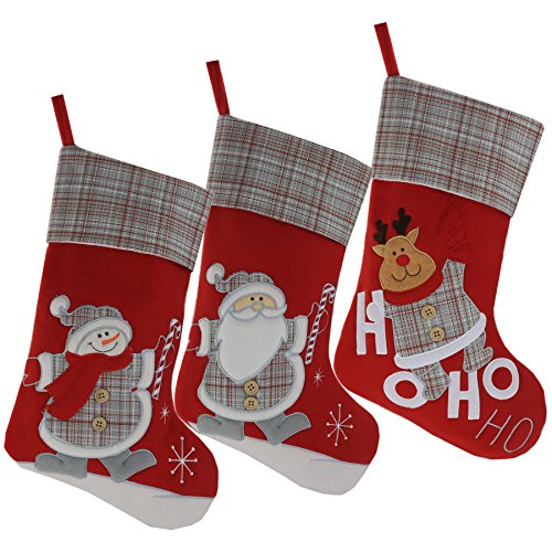 Wewill Marke Lovely Weihnachtsstrümpfe Set von 3 Santa, Rentier, Schneemann Xmas Character 3D Plüsch Leinen Hanging Tag Strickborte, 17-Inch/ 43CM -