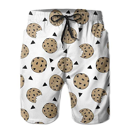 fdgjydjsh Men's Quick Dry Swim Trunks Colorful Cookies Food Chocolate Chip Biscuits Beach Shorts L