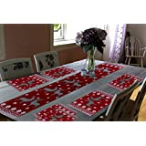 Glamkaart Jacquard Fabric Printed Table Mats With Runner - Set Of Seven