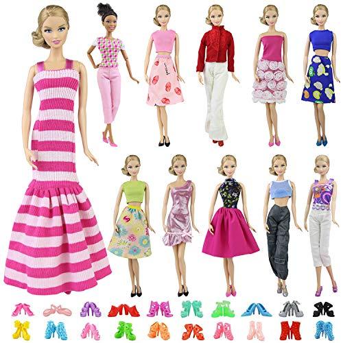 (ZITA ELEMENT 10 Stück Puppensachen Mode Fashion Urlaubstag Kleider für Barbie Puppen Handgefertigte Puppenkleidung Puppen Outfits Zubehör Kostüm 5 Partymoden Kleidung mit 5 Paar Schuhen)