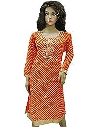 Ratnatraya Leheriya Cotton Silk Orange Kurti For Women | Party Wear Designer Straight Kurtis For Girls And Gift