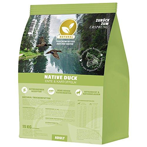 NATURAL | Native Duck | 15 kg | Ente + Kartoffel | getreidefreies Hundefutter | Trockenfutter für alle Hunderassen | viel frisches Fleisch | artgerecht & besonders gut verträglich -