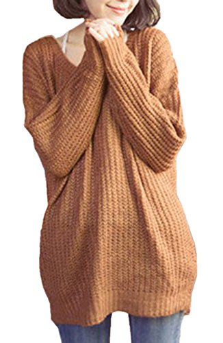 Femme Casual Col Rond Sweater Mini Robe Pull Oversize Large Top à Manches Longues Tunique Kaki