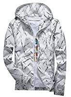 Fulok Mens Long Sleeve Print Hooded Sport Casual Jacket XS White