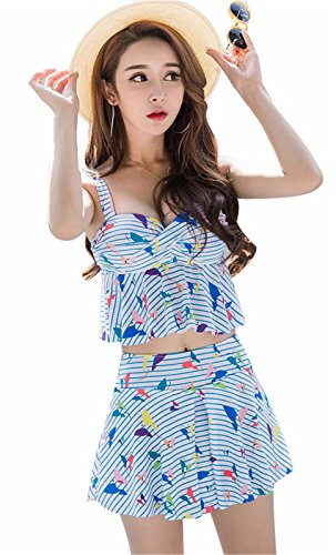 Two-Piece Gestreift Butterfly Bikini Tankini Oberteil Top Mit Skirted Skirt Badeshorts Bademode Swimsuit Strandkleidung Blau M (Set Butterfly Short)