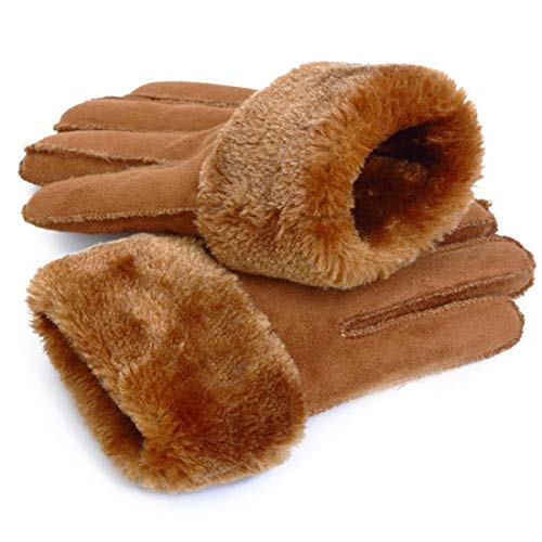 FUBULECY Unisex Handschuhe für Motorradhandschuhe Winterhandschuhe Warm Women Camel Color Warme Camel