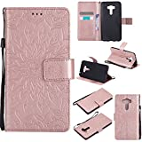 For Asus ZenFone 3 ZD552KL Case [Rose Gold],Cozy Hut [Wallet Case] Magnetic Flip Book Style Cover Case ,High Quality Classic New design Sunflower Pattern Design Premium PU Leather Folding Wallet Case With [Lanyard Strap] and [Credit Card Slots] Stand Function Folio Protective Holder Perfect Fit For Asus ZenFone 3 ZD552KL - Rose gold
