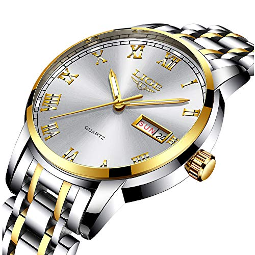 0602d20fa95c LIGE Resistente al Agua Relojes Hombre Acero Inoxidable Cuarzo analógico  Reloje Hombres Ocio Negocios Fecha Dorado