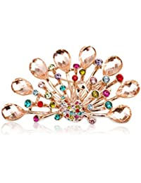 Fashion Plaza Damen Brosche mit vielfarbigem Kristall elegant Pfau Form BR116