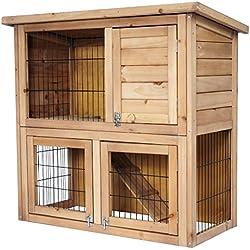 EUGAD 0040HT Clapier Lapin Cage de Lapin en Bois Massif 91x45x87cm