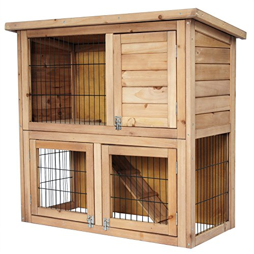 Woltu ht2068 conigliera gabbia per conigli animali ricovero pollaio casa con tetto piano in legno abete giardino esterno