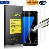 Alfort 2-Unidades Protector de Pantalla para Samsung Galaxy S7 Edge, 5.5 Pulgadas, Cristal Templado 0,26mm Dureza 9H Alta Definicion 3D Touch No Burbujas [ Cobertura Completa ] Transparente