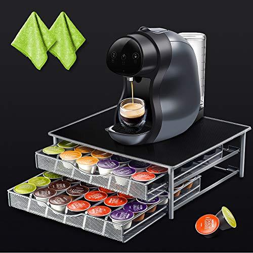 Masthome 72 Nespresso-Kapselhalter mit 2 extra Reinigungstüchern, Schublade und Kaffeemaschinenständer