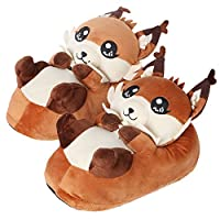 corimori 1847 (Various Animal Designs) Animal Shaped Plush Booties, Carpet Slippers, Faye the Fox, Orange, Adults One Size 2.5 - 11