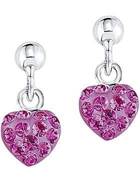 amor Kinder-Ohrhänger Mädchen Herzen 925 Sterling Silber rhodiniert glänzend Kristall pink - 442602