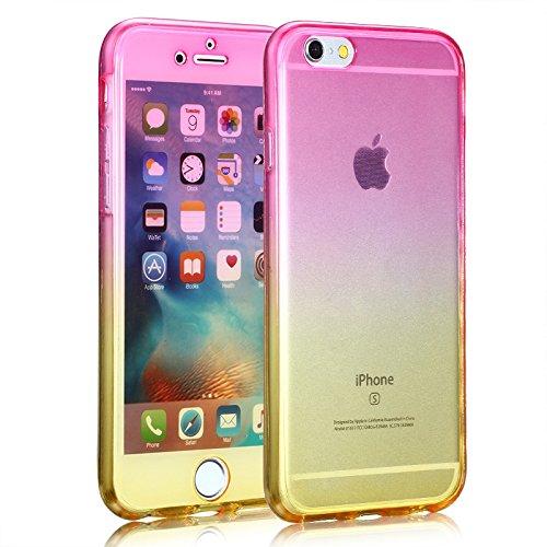 Cuatodia iPhone 7 Plus,Cover iPhone 7 Plus,Etsue 360 Gradi Ultra Sottile Tpu Transparente Completa Protettiva Caso Cover,Chiaro Cristallo Gradiente Disegno in Silicone Bumper Custodia di Protezione Ul Rosa+giallo