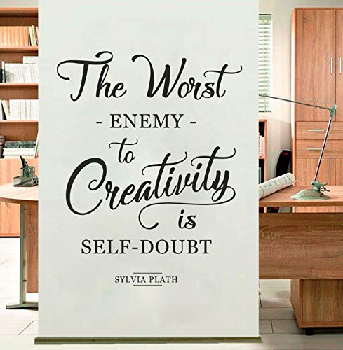 Wall Sticker The Worst Enemy to Creativity Quote Studio Wall Decal Removable Home Decor Sylvia Plath Office Wall Art Mural42x53cm