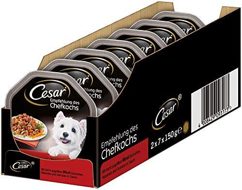 Cesar Hundefutter Nassfutter Empfehlung des Chefkochs mit leicht gegrillten Rind-Stückchen, Naturreis und Gemüse in Sauce, 14 Schalen (14 x 150 g)