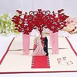 MUROAD Biglietti di Matrimonio Inviti, 3D Pop Up biglietti di auguri anniversario di matrimonio, Carta di giorno dell'amante,Carta di invito a nozze