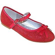 Scarpe ballerina rosse, piatte, con lustrini brillanti, da donna, scarpe