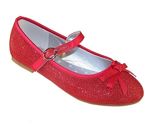 Ragazze Rosso Glitter partito Ballerine Scarpe, rosso (Red), 33 EU