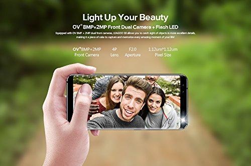 LEAGOO S8 - 5 72 pulgadas  proporci  n 18  9  sin bordes Android 4G Ultra Slim smartphone  cuatro c  maras  Octa Core 1 5GHz 3GB RAM 32GB - Negro