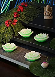 Bavla Diwali Decoration 4 Pc. Lotus Shape Floating Fragrance Candle Set