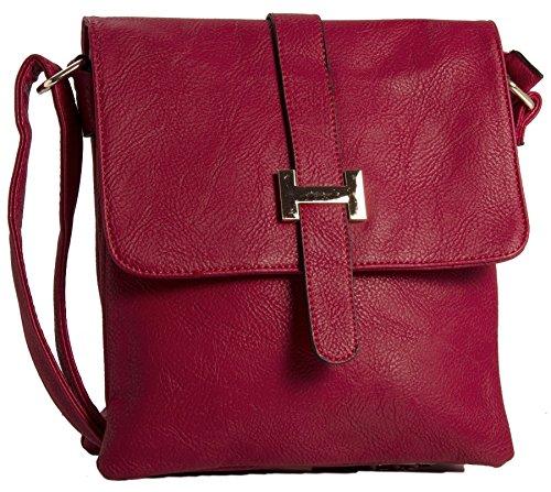Big Handbag Shop donna Multipocket Messenger Crossbody Borsa a tracolla Red (LL321)