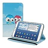 kwmobile FUNDA DE CUERO SINTÉTICO Premium 360º Diseño pájaro comic para el Samsung Galaxy Tab 3 8.0 azul rojo azul claro con la práctica función de soporte y Auto Sleep / Wake Up