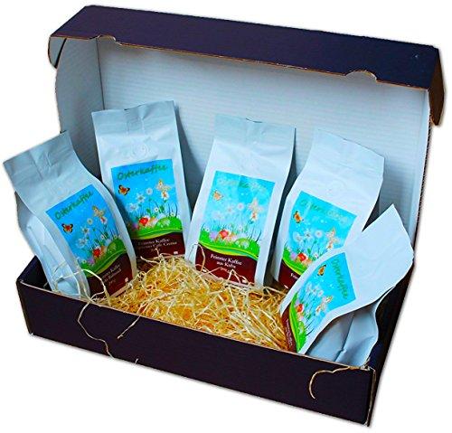 Osterkaffee Geschenkset - 5 x 200 g feinste Kaffeesorten als Ostergeschenk (gemahlen)