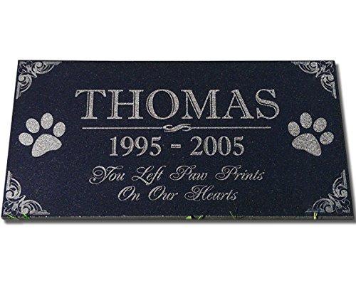 You Left Huellas en nuestros corazones Pet Lápidas personalizado Lápida Grave Marker Absolute Black Granito Jardín Placa grabada con nombre de gato de perro fechas