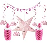 SUNBEAUTY Babyparty Mädchen Dekoration It's A Girl Lovely Baby Taufe Deko (Rosa)