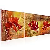 Bilder Blumen Mohnblume Wandbild Vlies - Leinwand Bild XXL Format Wandbilder Wohnzimmer Wohnung Deko Kunstdrucke 90 x 30 cm Orang 3 Teilig -100% MADE IN GERMANY - Fertig zum Aufhängen 201134a