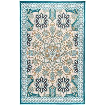 b455de13ca2049 Carpetforyou Schöner flachgewebter In- & Outdoor Teppich King's Garden 3D  Effekt Blumenmotiv grün grau beige braun in 4 Größen für Wohnzimmer und  Balkon ...