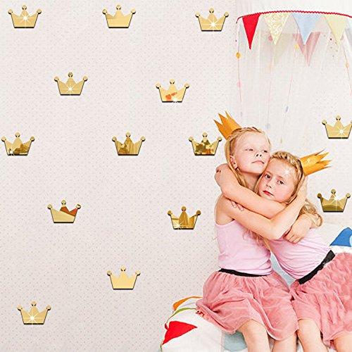 ufengke home Wandsticker Prinzessim Krone Golden 3D Wandaufkleber für Mädchen 15 Stück Spiegel Wandtattoo Abnehmbare Wandsticker Doppelseitige DIY für Wohnzimmer Schlafzimmer Kinderzimmer -