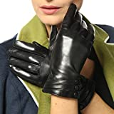 Damen Winterhandschuhe aus Nappaleder, mit Plüschfutter/100% KaschmirFutter und lederüberzogenen Knöpfen (L ( 2014 Neu/Kaschmir-Futter/Touchscreen ), Schwarz ( Standardgröße ))