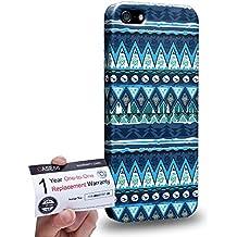 Case88 [Apple iPhone 5 / 5s] 3D impresa Carcasa/Funda dura para & Tarjeta de garantía - Art Aztec Carpet Frozen Forrest