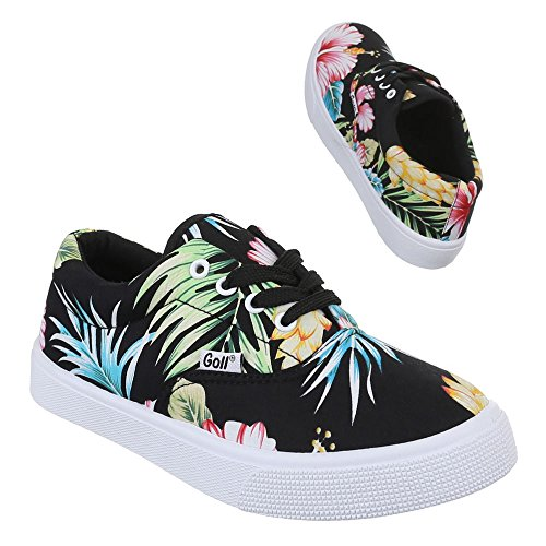 Ital-Design Damen Schuhe, G867, Freizeitschuhe Sneakers Low-Top Schwarz Multi