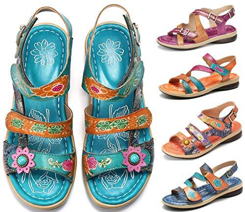 Gracosy Sandales Cuir Femmes Plates, Chaussures Été à...