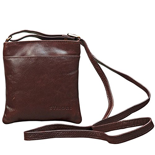STILORD 'Lana' kleine Umhängetasche Damen Ausgehtasche Schultertasche Handtasche echtes Büffel Leder Vintage Design, Farbe:schokoladen - braun (Leder Tasche Handtaschen Schokolade)