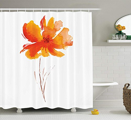 MLNHY Watercolor Flower Decor Shower Curtain Set, Single Poppy Flower On Plain Clear Background Nature Inspired Romantic Art, Bathroom Accessories, White Orange,Size:60W X 72L Inche -