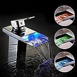 Bonade® Modern Bagno LED Rubinetto Cascata Cromato Miscelatore Lavabo in Ottone[Non Richiede Batterie]