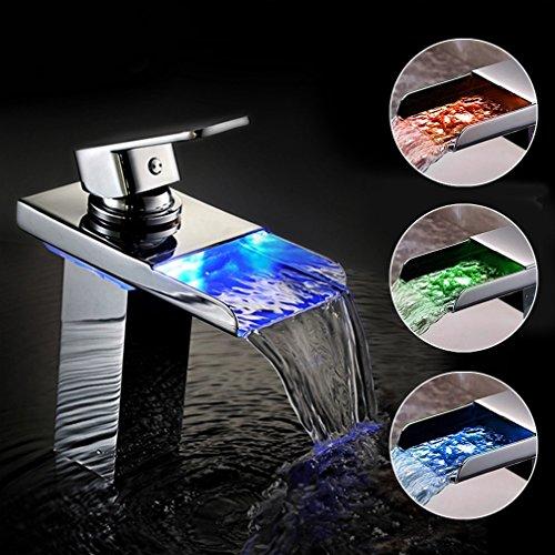 BONADE® Verchromt LED RGB Wasserfall Wasserhahn Mischbatterie Spültischarmatur für Kaltwasser und Heißwasser