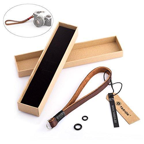 TARION Kamera Handschlaufe Leder Handgelenkschlaufe Strap Armbänder Tragegurt für DSLR Schwarz 15mm