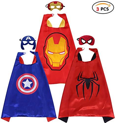 Qemsele Kinder Umhänge Masken Kostüm für Mädchen Jungen, 3 Pack Superheld Verrücktes Kleid für Kinder verkleiden Sich Spiele Halloween Weihnachten Geburtstag Party (70 x 70 cm, Ironman) (Verrückte Superhelden Kostüm)