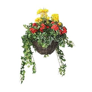 Closer To Nature HBKM23 – Cesta colgante clásica, con plantas artificiales de Begonia y Geranio, 30 cm