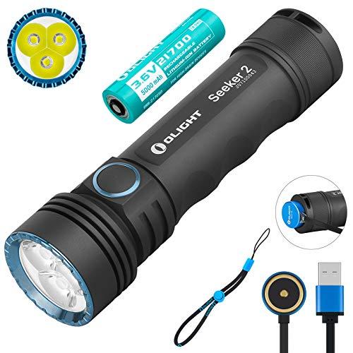 Olight Seeker 2 Taschenlampe 3000 Lumens 3 LEDs Kaltes Weiß EDC-Taschenlampe USB Magnet Wiederaufladbare Leistungsstarke Tragbare Taschenlampen mit 21700 Akku & Tidusky Batteriefach