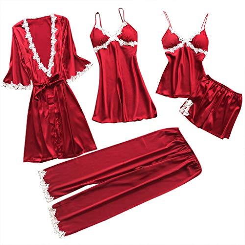 BaZhaHei Negligees Damen Sexy Dessous Silk Kimono Dressing Babydoll Spitze Dessous Gürtel Bademantel Nachtwäsche Lace Bodysuit Versuchung Unterwäsche Nachthemd Nachtkleid