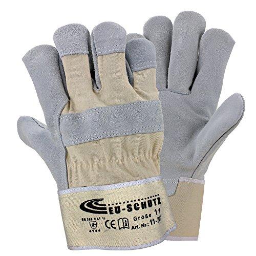 5 Paar Leder Handschuhe Premium Arbeitshandschuhe Robuster Schutzhandschuh mit Canvas-Stulpe