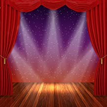 10ft Red Curtain Stage Background Wooden Floor Sparkle Dots Purple Vinyl Backdrops for Photography